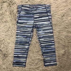 GapFit Blue Striped GFast Workout Crop Leggings